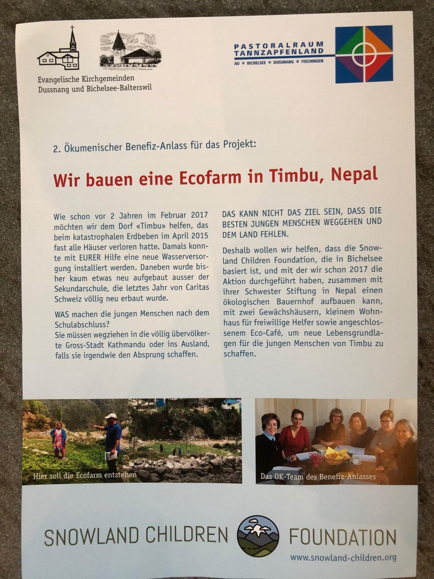 Bereits zum zweiten Mal gibt es in unserem Dorf eine grosse Aktion, um einem nepalesischen Bergdorf zu helfen, das durch das grosse Erdbeben von 2015 fash völlig zerstört wurde